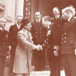 رئيس البعثة الدبلوماسية الروسية في مصر س.ب. كوزيريف في زيارة للقصر الملكى 13 مايو 1950 لتقديم أوراق إعتماده سفيراً بالقاهرة