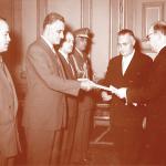 الرئيس جمال عبد الناصر يتلقى أوراق إعتماد السفير السوفيتي بالجمهورية العربية المتحدة ف.يا. إيروفييف بالقصر الجمهوري 3 نوفمبر 1959