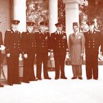 أعضاء البعث الدبلوماسية للإتحاد السوفيتي في مصر برئاسة السفير س.ب. كوزيريف ( الرابع من اليسار ) 13 مايو 1950