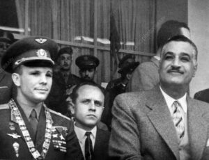 Yuri Gagarin (1934-1968), Soviet cosmonaut and first man in space, in Cairo, Egypt. At left is the Egyptian President Gamal Abdel Nasser. Gagarin made the first manned space flight on 12 April 1961. He orbited the Earth once in the Vostok 1 spacecraft, a flight that lasted 1 hour and 48 minutes. Gagarin became a hero in the Soviet Union and famous worldwide. He later returned to active service as a test pilot, dying in a crash during a training flight in 1968. His ashes were interred with full military honours in the Kremlin Wall. Photographed in February 1962.